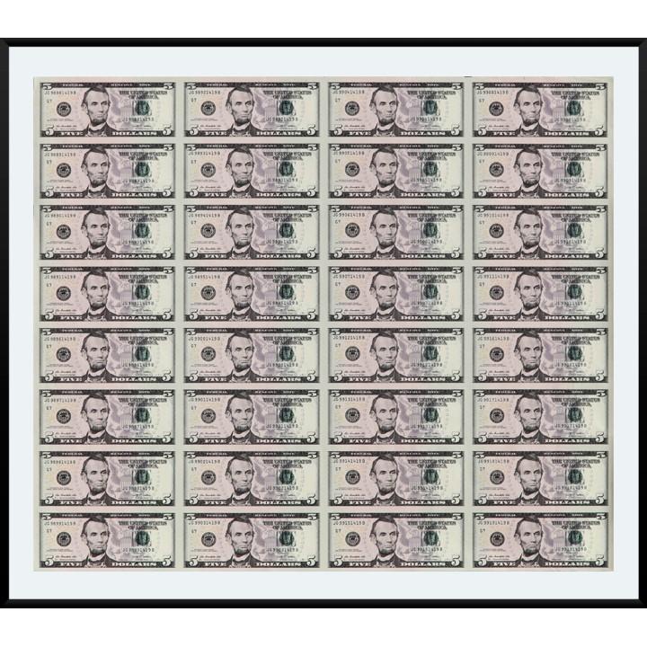 $5 коллекционный лист настоящих неразрезанных долларов (32 купюры)