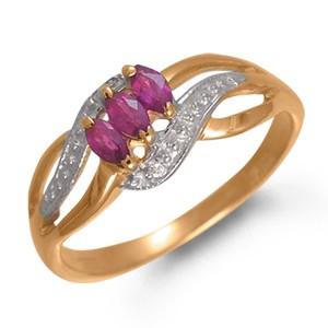 Кольцо из красного золота с рубином и цирконом