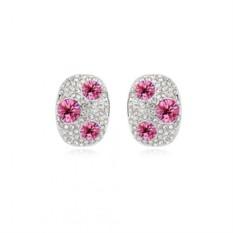 Серьги с розовыми камнями «Россыпь»