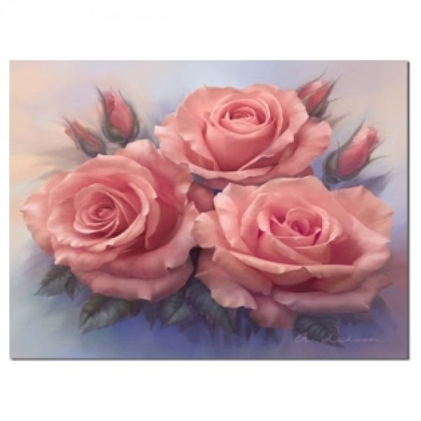 Картина-раскраска по номерам на холсте Розовые розы