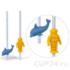 Насадки на соломинку Дельфин и водолаз