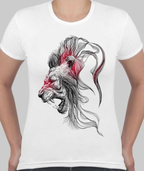 Женская футболка Лев, грива