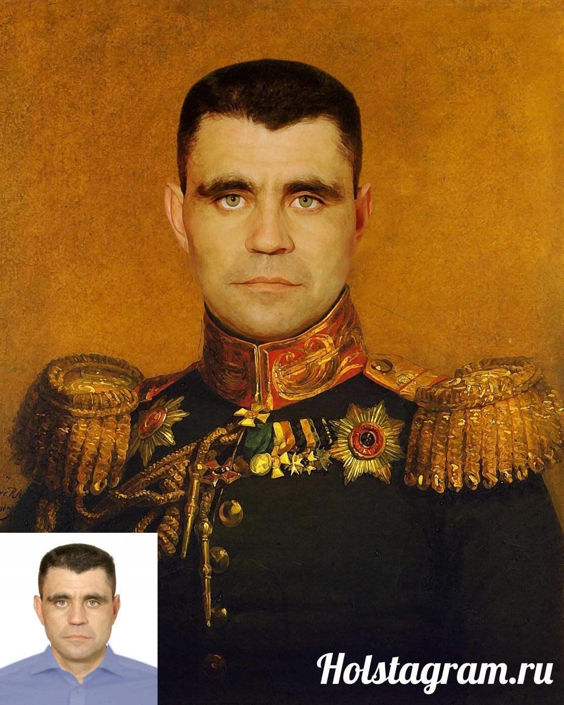 Печать портрета по фото на холсте в подарок для него