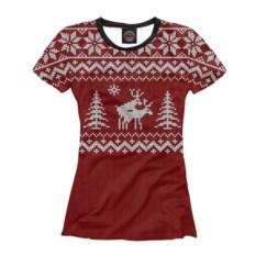 Красная женская футболка Неприличные олени