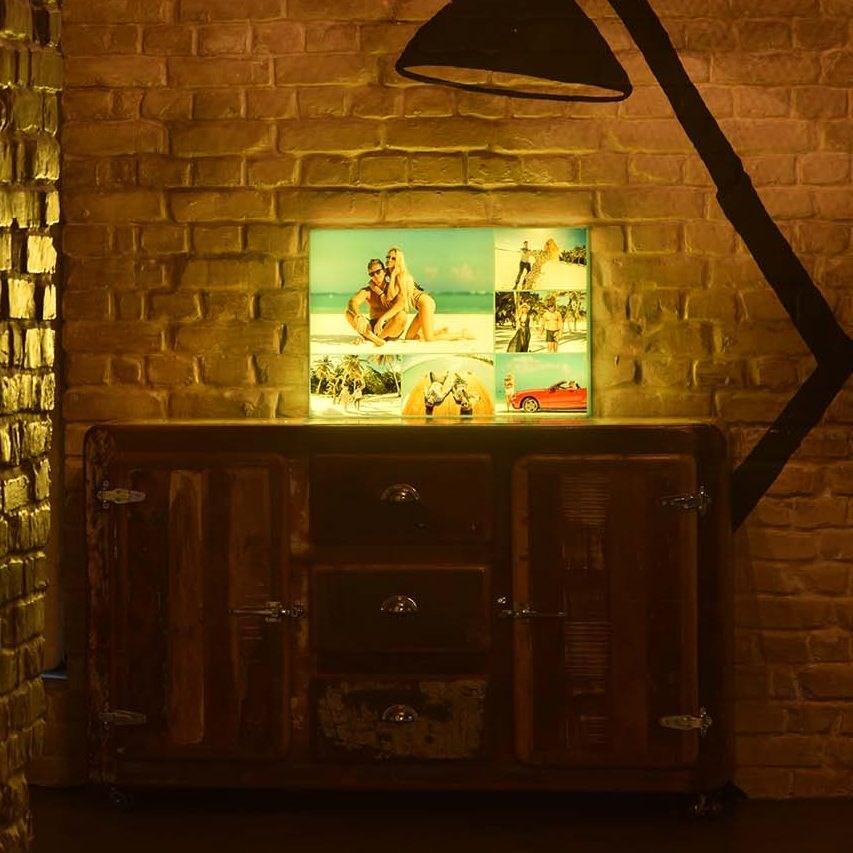 Дизайнерский светильник с коллажом фотографий на заказ