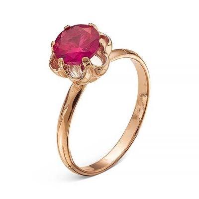 Позолоченное кольцо с красным корундом