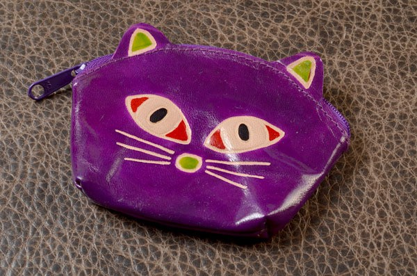 Монетница (кошечка, фиолетовый, кожа)