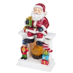 Новогоднее светящееся украшение Дед Мороз на камине