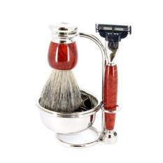 Красно-коричневый бритвенный набор S.Quire с чашей