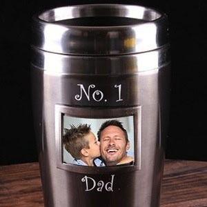 Термокружка с фоторамкой No. 1 Dad, серая