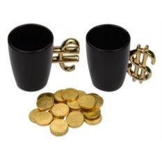 Набор Золотая валюта из двух кружек и шоколада