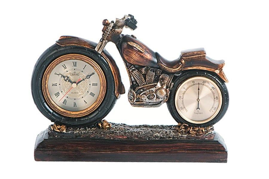 Настольные часы с термометром Мотоцикл Lisheng