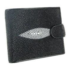 Мужской кошелек из ската (цвет - черный с белым глазком)