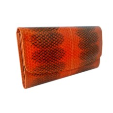 Оранжевый женский кошелек из кожи змеи