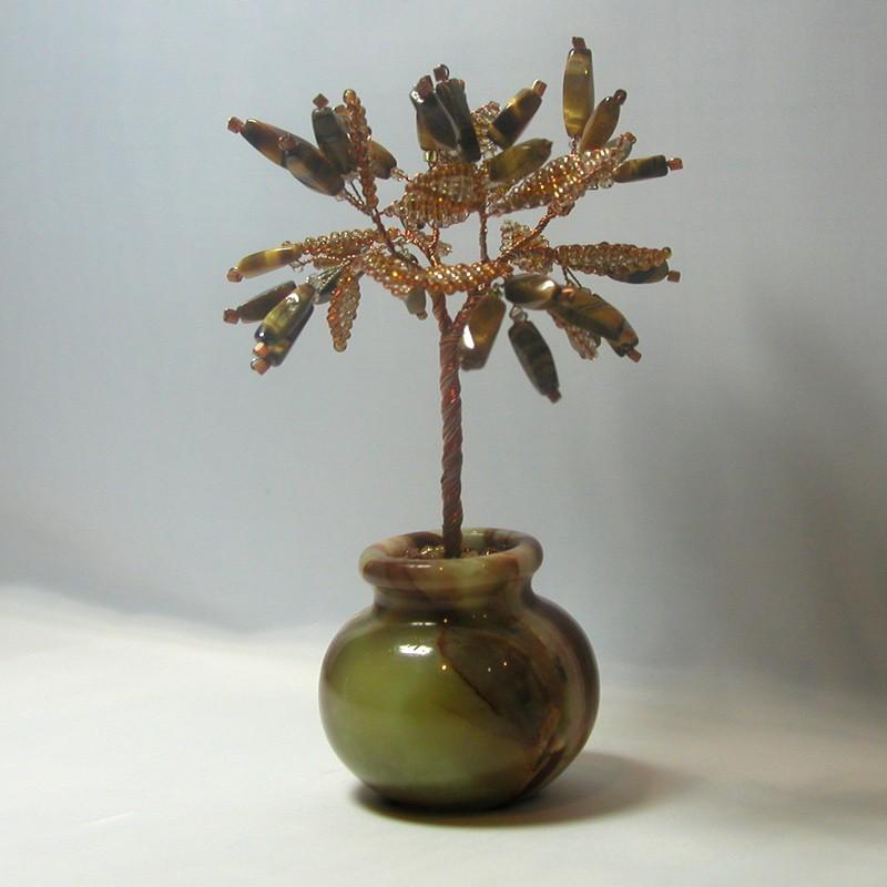 Дерево счастья из тигрового глаза в вазочке из оникса