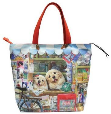 Женская сумка с карманом на молнии «Весёлый шоппинг»