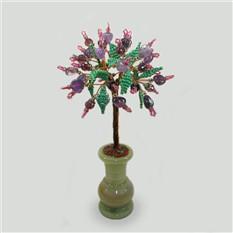 Дерево Шезметет из аметиста и раухтопаза в вазочке из оникса
