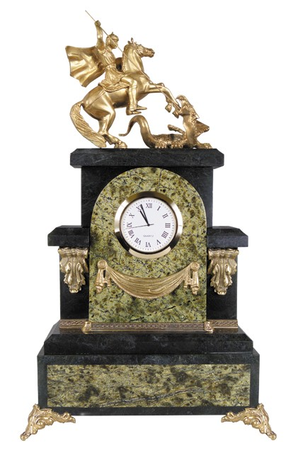 Часы Георгий Победоносец кварц. (змеевик)