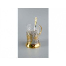 Набор из стакана с подстаканником и ложкой «Герб России»