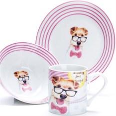 Набор детской посуды 3 предмета Собачка в очках