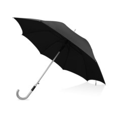 Черный полуавтоматический зонт-трость с алюминиевой ручкой