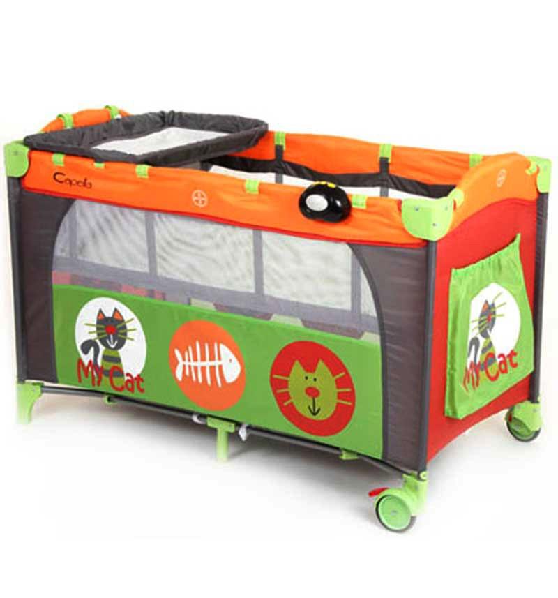 Манеж-кровать Sweet Time My Cat Capella, зеленый/оранжевый