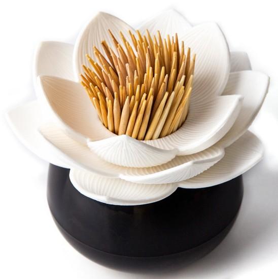 Черно-белый держатель для зубочисток Lotus