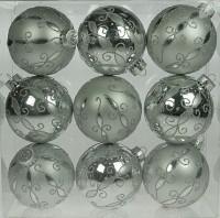 Набор ёлочных игрушек из 9 шт, шарики серебристые, 8 см