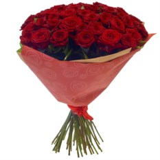Букет из 51 розы сорта Ред Наоми 50 см в крафте