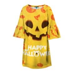Детское желтое 3D платье Хэллоуин