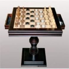 Квадратный шахматный стол с ящичками