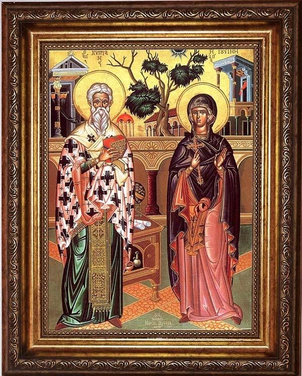 Икона на холсте Киприан и Иустиния Святые мученики