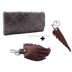 Женский кошелек, 2 брелока лапа и хвост из крокодиловой кожи
