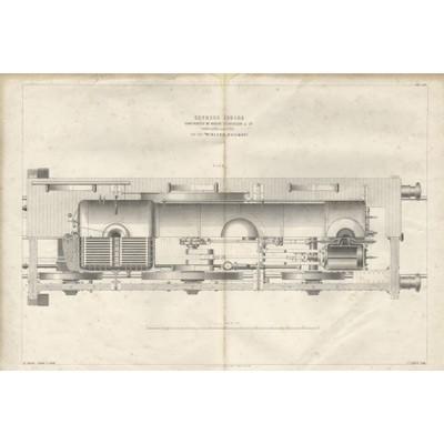 Гравюра «Двигатель паровоза Роберта Стефенсона»