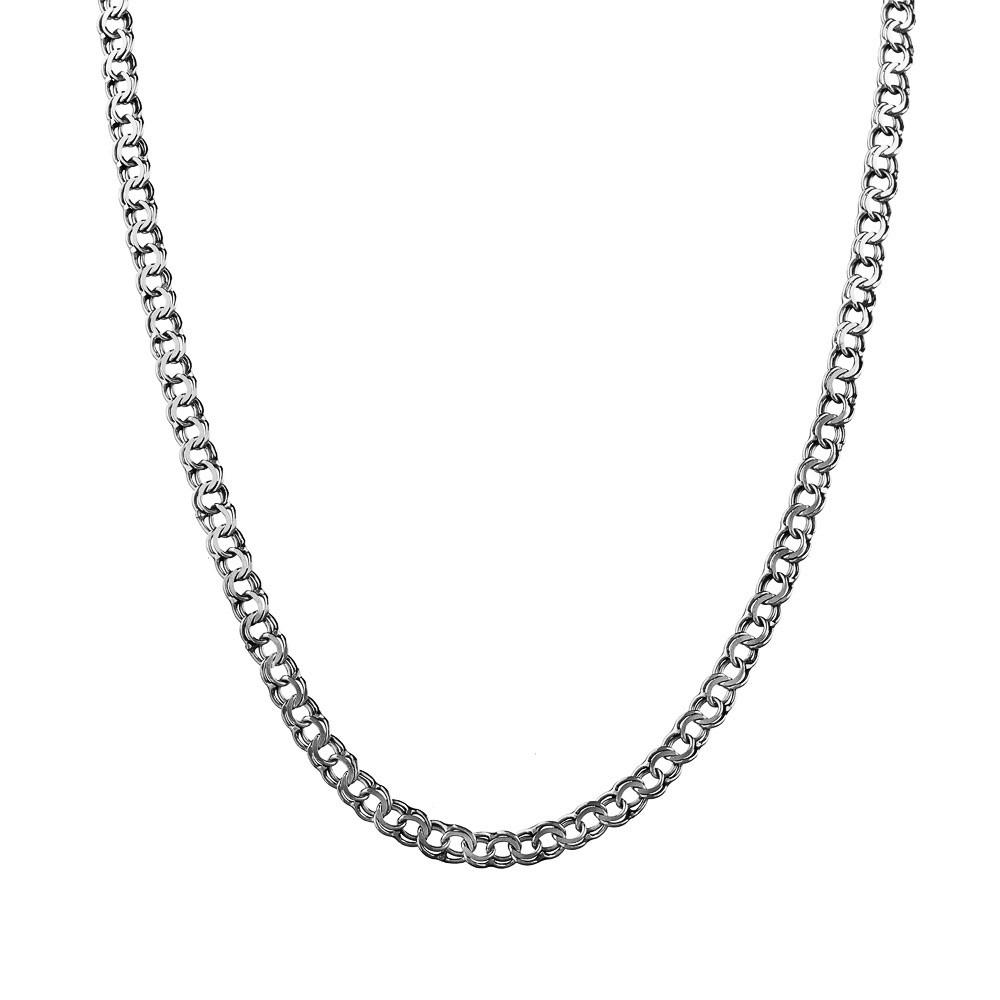 Цепь из серебра, плетение Гарибальди