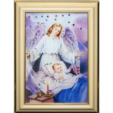 Малая картина с кристаллами Сваровски Ангел-Защитник
