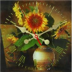 Настенные часы с кристаллами Swarovski Подсолнухи