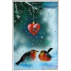 Картина с кристаллами Swarovski Зима. Снегири