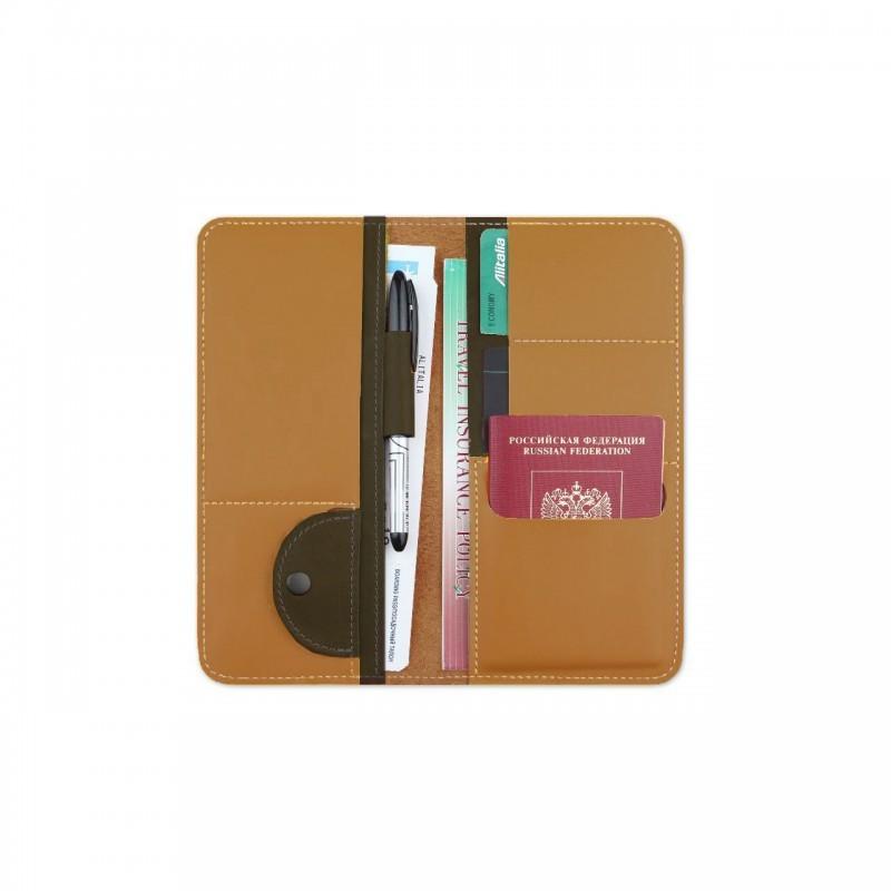Холдер кожаный для документов Artskill Travel (охра)