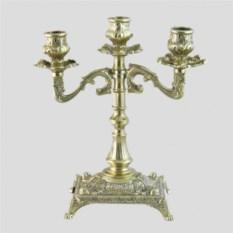Латунный канделябр на 3 свечи