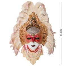 Венецианская маска Перо павлина (цвет: бело-золотой)