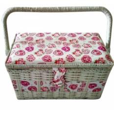 Плетеная шкатулка для рукоделия Сердечки с подносом