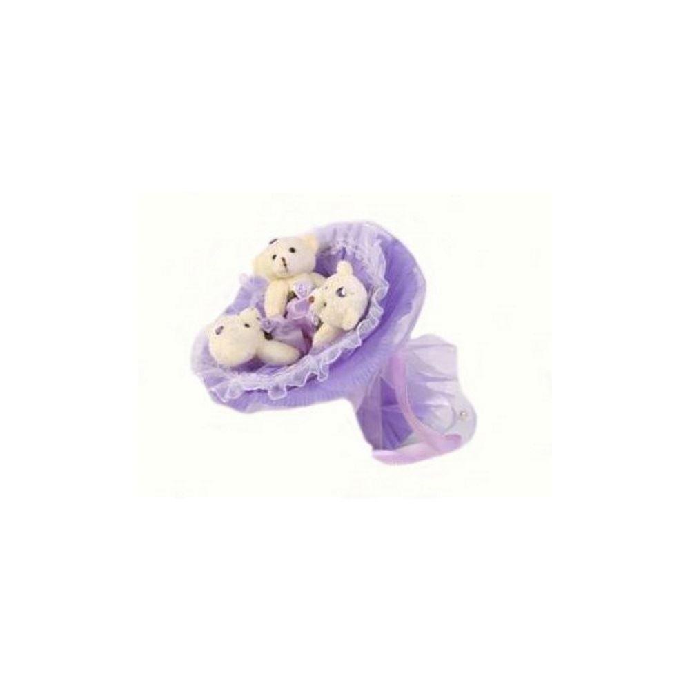 Букет из мягких игрушек Медвежата (цвет — сиреневый)