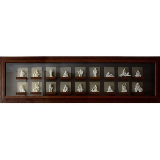 Картина фэн шуй интерьерная Восемнадцать статуэток архатов