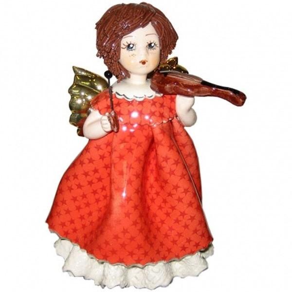 Фигурка из фарфора Ангел в красном со скрипкой от ZamPiva