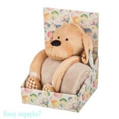 Плед с игрушкой «Собачка в клеточку», 100х75х25 см