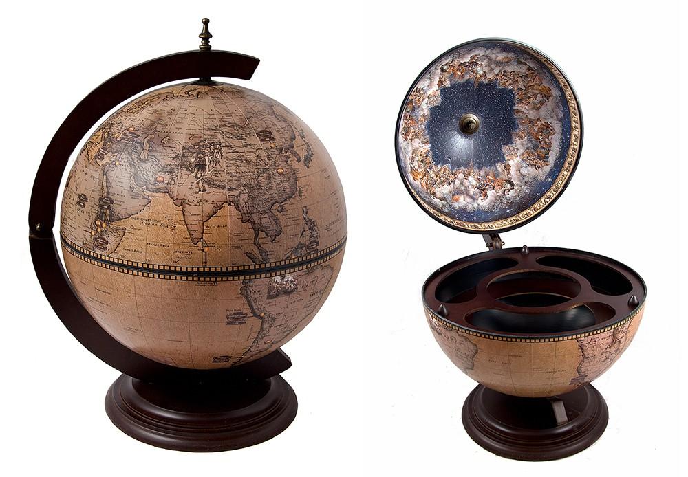 Глобус-бар с современной картой