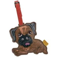 Кожаный ярлык на сумку Border Terrier
