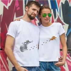 Парные футболки Кот и мышь