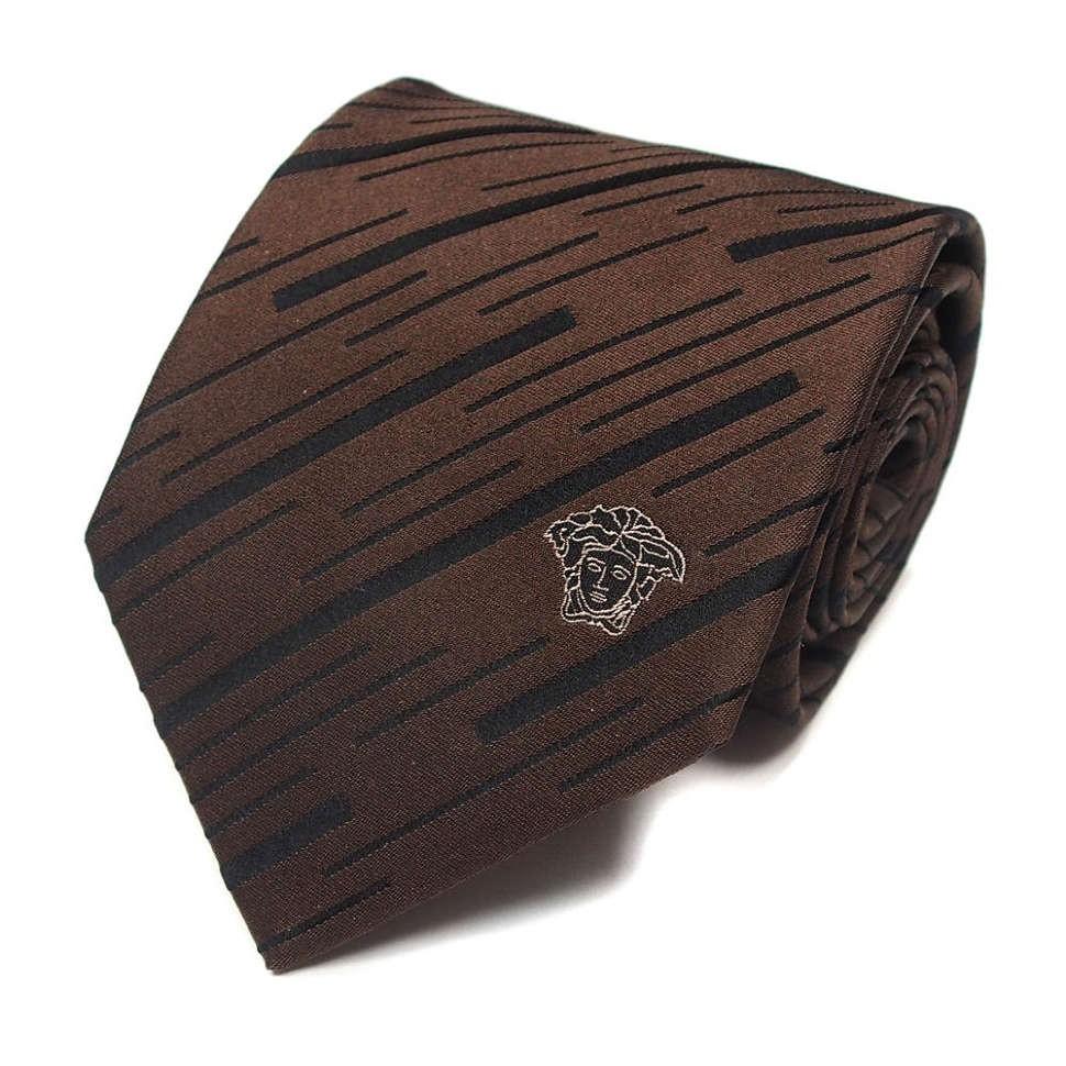 Фирменный коричневый галстук Versace